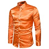 Herren Hemd Satin Slim fit Hochzeit Business Schwarz Weiß Grau Rot Mode Casual Party Langarm Shirt...