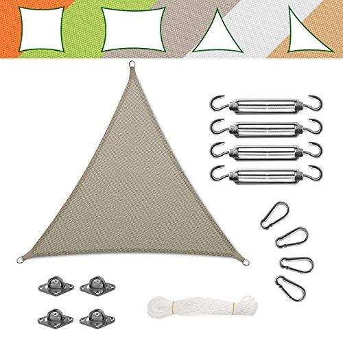 casa pura Voile d'Ombrage Triangulaire - Toile + Kit de Fixation Inclus   Toile Ombrage Imperméable   Voile Résistante Pluie/UV en 7 Tailles   Grise - 5x5x5m + Accroche