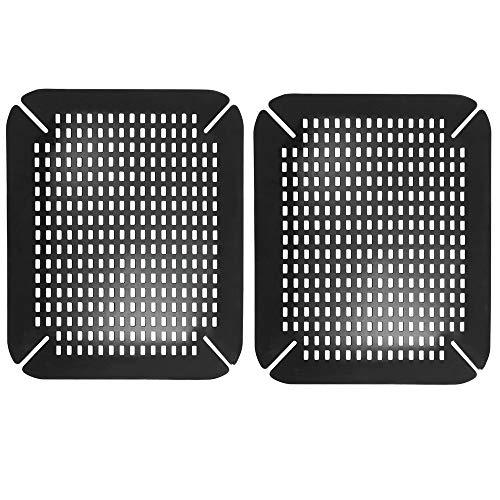 mDesign Juego de 2 protectores de fregaderos – Práctico protector de platos ajustable de plastico – Alfombrilla acolchada para el fregadero y para evitar que la vajilla se golpee o se rompa – negro