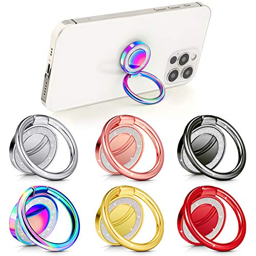 6 Pieces Cell Phone Ring Holders Finger Smartphone Kickstands Bling Phone Ring Stands 360° Rotation Metal Ring Grips Compatible with Most Smartphone