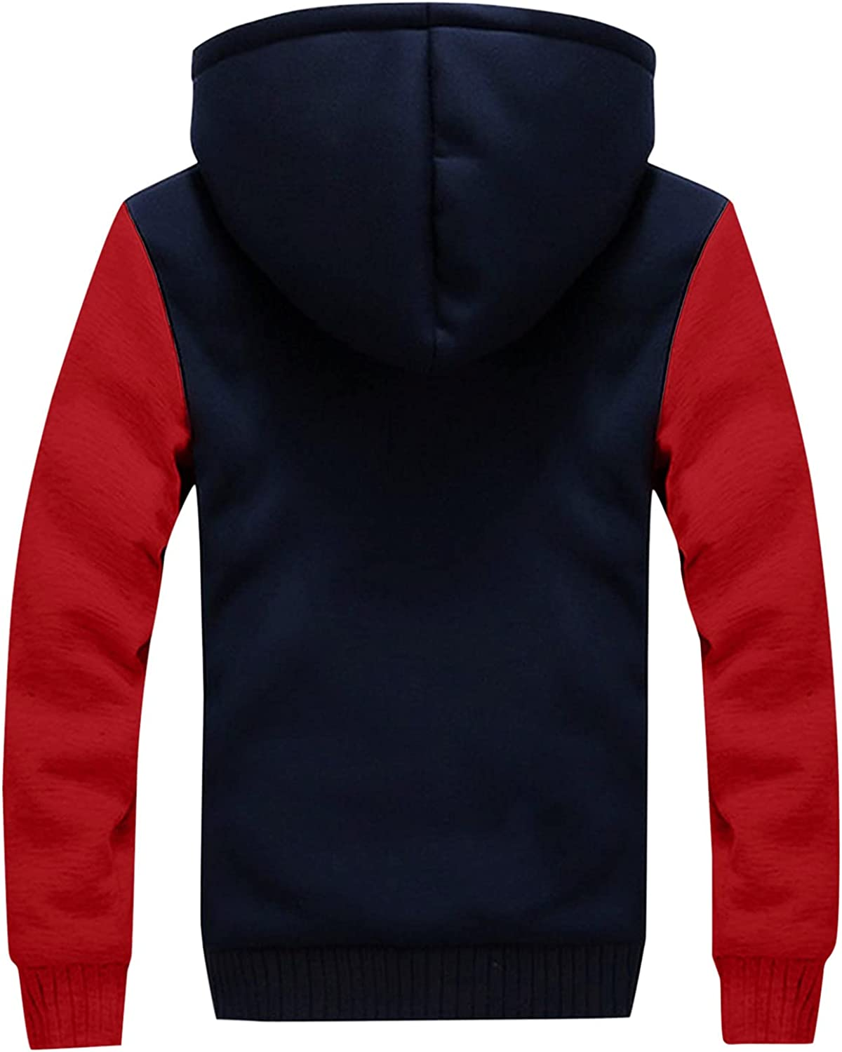 XXBR Fleece Jackets for Mens, 2021 Fall Winter Zipper Color Block Patchwork Plush Coat Casual Hooded Outerwear Hoodies