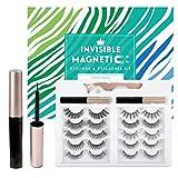 Magnetic Eyelashes with Eyeliner, Invisible Magnetic Lashes Mink Kits with 2 Liquid Eyeliner 10 Invisible Reusable Waterproof False Eyelashes