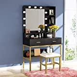 Tribesigns Vanity Table Set with Lighted Mirror & Stool, Makeup Vanity Dressing Table with 9 Lights, 2 Drawers and Storage Shelves for Bedroom, Gold Vanity Desk for Women Girls (Black)