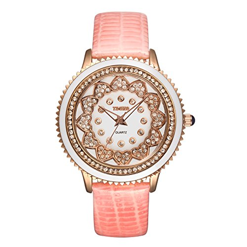 Time100 Reloj de Mujeres con dianmante Correa de Piel Correa de Color Rosa Esfera Diamante Reloj de Cuarzo