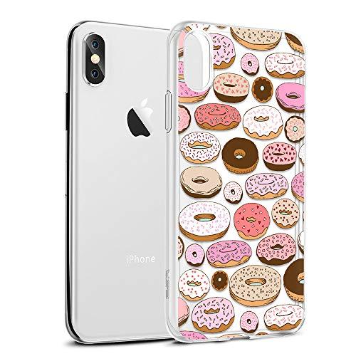 Eouine Funda para iPhone XS MAX, Cárcasa Silicona 3D Transparente con Dibujos Diseño [Antigolpes] de Protector Bumper Case Cover Fundas para Movil para iPhone XsMax 2018-6,5 Pulgadas (Donuts)