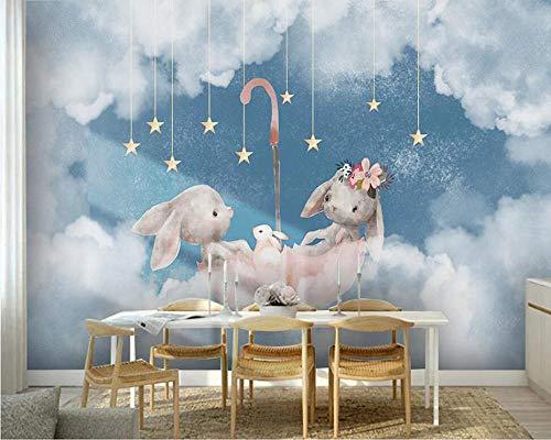 Pseaexz 3D Benutzerdefinierte Handmade Kinderzimmer Tapete Wandbild Cartoon Hand Gezeichnete Wolken Sterne Tier Kaninchen Regenschirm 350X256 Cm (Wxh) Diy Vlies Benutzerdefinierte Kunst Poster Bilder