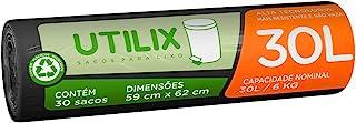 Saco para lixo Utilix, 30 litros, preto, rolo com 30 sacos, 510024312