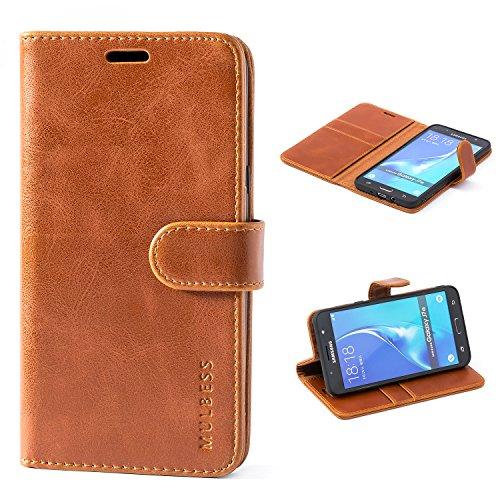 Mulbess Handyhülle für Samsung Galaxy J7 2016 Hülle, Leder Flip Case Schutzhülle für Samsung Galaxy J7 2016 Duos Tasche, Cognac Braun