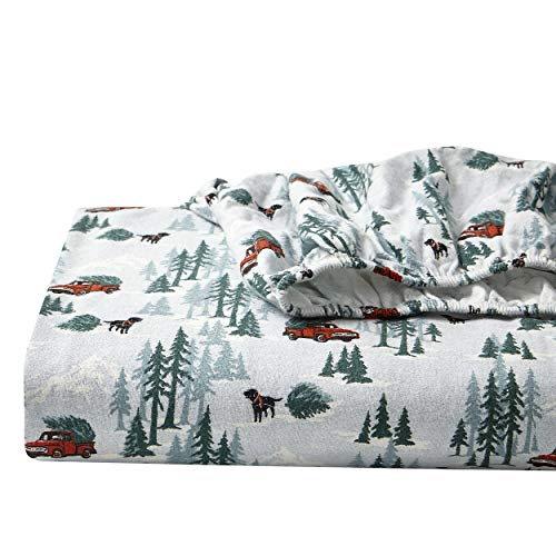 Eddie Bauer - Flannel Collection - 100% Premium Cotton Bedding Sheet Set, Pre-Shrunk & Brushed For Extra Softness, Comfort, and Cozy Feel, Queen, Tree Farm