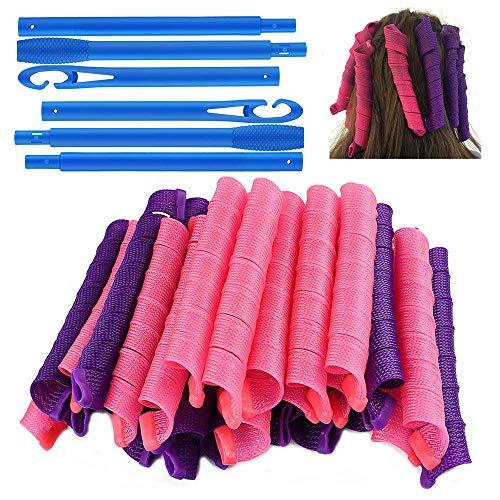 40 piezas de rizadores de pelo en espiral, rizadores de pelo de bricolaje durante la noche sin calor con ganchos de peinado, rulos, herramientas de peinado para mujeres (Púrpura y Rojo, 55 cm)