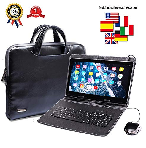 Tablet con teclado (AZERTY) Android Smartphone libre Dual SIM Quad Core ordenador portátil, 16 GB ROM, doble cámaras, phablet incluye ratón y lápiz táctil
