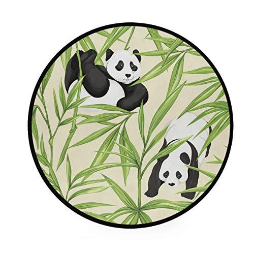 AABAO Pandas Bambus-Teppich, rund, rutschfest, bequem, rund, für Wohnzimmer, Schlafzimmer, 92 cm Durchmesser