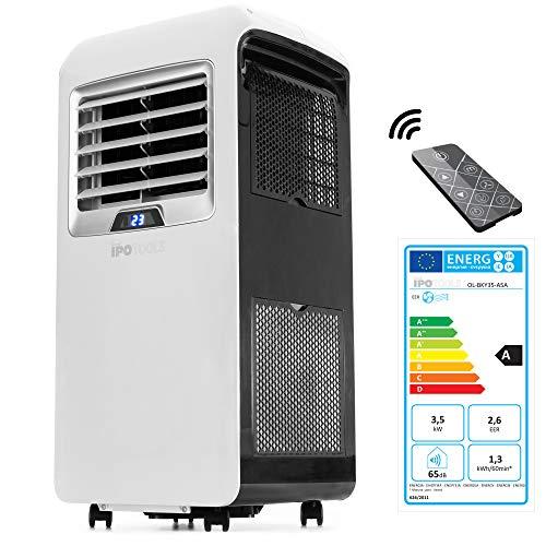 IPOTOOLS Lokales mobiles Klimagerät mit Abluftschlauch / 3in1 mobile Klimaanlage/Kühlen Ventilieren Entfeuchten / 12000 BTU/Räume 12 bis 40 qm/Fernbedienung / 24h Timer/Kühlmittel R290