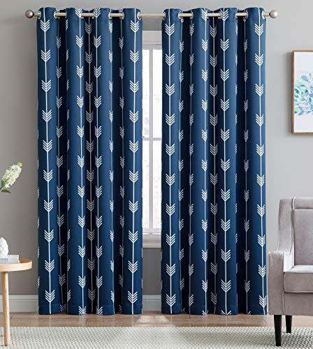 "HLC.ME Arrow Printed Blackout Room Darkening Thermal Grommet Window Curtain Drape Panels for Bedroom - Set of 2 - Navy Blue - 96"" inch Long"