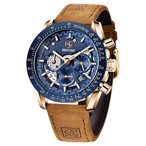 Relojes Hombre BENYAR Cronógrafo Analógico Cuarzo Dial Esqueleto 3AMT Impermeable Brazalete de Cuero Diseño Casual de Negocios Relojes de Pulsera Regalo Elegante para Hombre