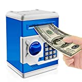 iPhyhe Cash Coin Saving Piggy Bank Electric ATM Money Safe Box with Password Combination Lock Toy Gift for Kids and Adults - Blue and White