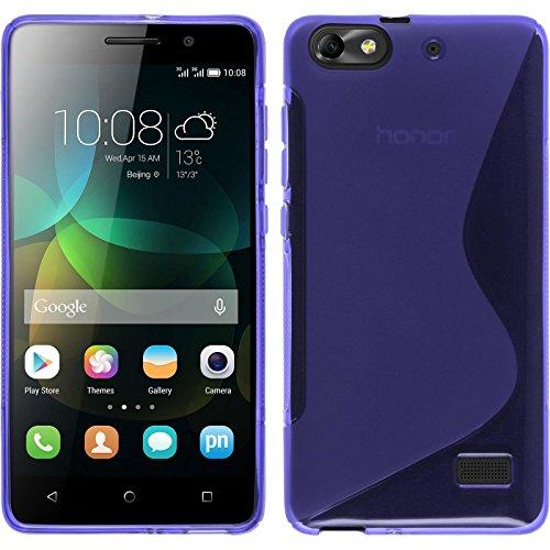 PhoneNatic Hülle kompatibel mit Huawei Honor 4c - lila Silikon Hülle S-Style + 2 Schutzfolien