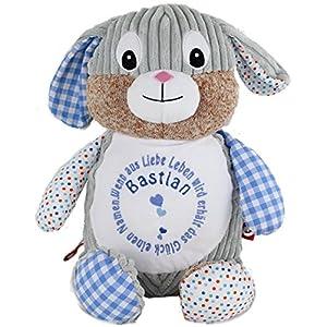 Cubbies Kuschelhase Stofftier Hase blau individuell bestickt für Geburt Taufe Geburtstag
