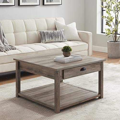 Walker Edison Modern Country Square Coffee Table Living Room Accent Ottoman Storage Shelf 30 Inch, Grey Wash