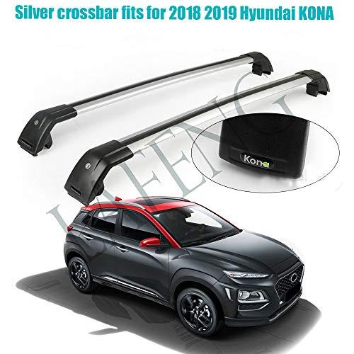 LAFENG Silver Crossbar se adapta a 2018 2019 Hyundai KONA equipaje portaequipajes rieles fuertes
