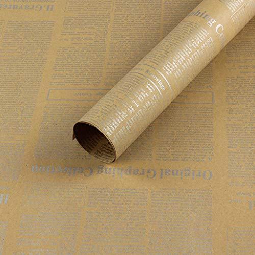 Zhou-WD Gift Wrapping Papier, Bloemen Tas Bloem Kraft Papier Vintage Engels Krant Inpakpapier Boek Decoratie Papier 50 * 70CM Origami 50 * 70CM B