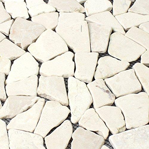 Naturstein Fliesen Marmor Bruch Biancone | Wandfliesen | Mosaik-Fliesen | Bruch-Mosaik | Naturstein | Ideal für die Küche und Badezimmer