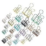 25 Pezzi Clip a Coda Lunga Cava Creativa, Foldback Paper Clamps Binder Clips, 3 Dimensioni Assortite, Adatto per Documenti Ufficio, per Visualizzazione Wireframe di Foto a Parete (Colori Casuali)