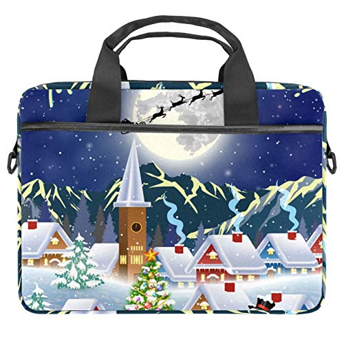 LORVIES Kerstboom en Sneeuwman Maan Silhouet van de Kerstman Vliegende Slee Laptop Tas Schouder Messenger Tas Zakelijke Mouw Draaghandvat Tas voor 14 naar 15.4 inch Laptop Notebook