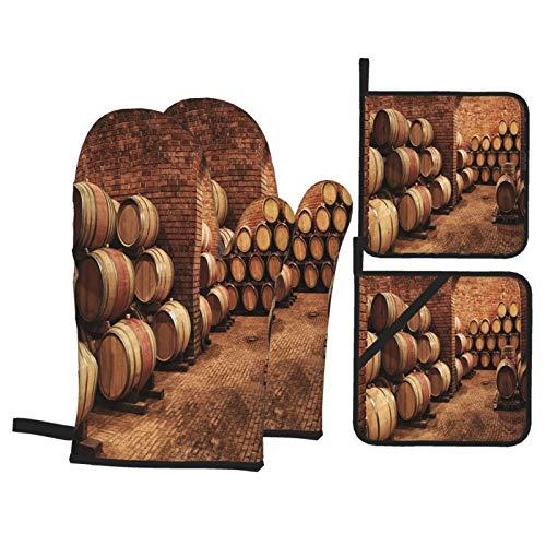 Juegos de Manoplas y Porta ollas para Horno,Barriles de Vino Winevaults Order Guantes de Cocina Resistentes al Calor para Hornear en la Cocina, Parrilla, Barbacoa,BBQ