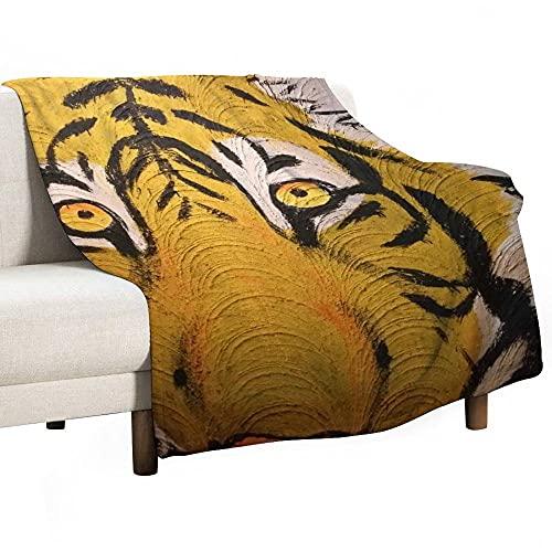 Mantas para Sofa Batamanta Mujer de Franela y Sherpa Manta Bebe Sofa Mantas con Estampados para la Cama y el Sofá 150x200 cm Animal Tiger