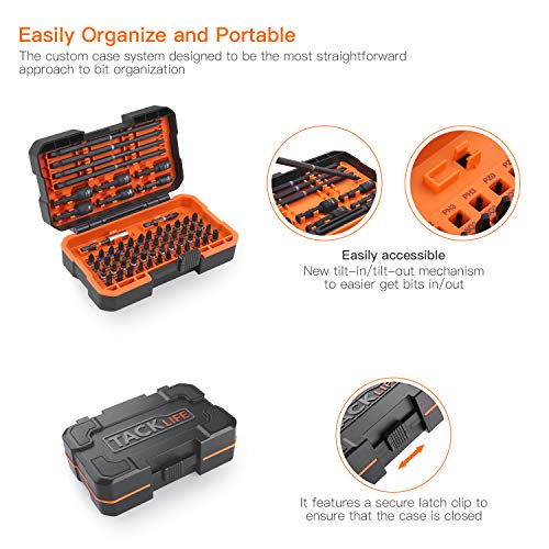 TACKLIFE 60Pcs Screwdriver Bit Set with Nut Drivers, Impact Ready, 52 Screwdriver Bits, 6 Nut Driver Bits, 1 Magnet Bit Holder and 1 Torsion-Bit, S2 Alloy Steel w/Solid Case