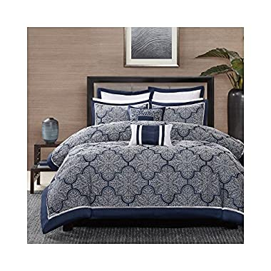 Madison Park MP10-1659 Medina 8Piece Jacquard Comforter Set King, Navy, King,Navy,King