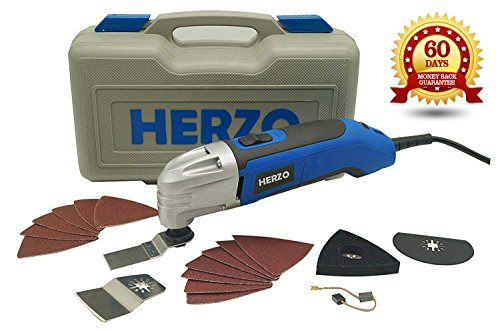 HERZO Power Oscillating Multitool Kits 2.5Amp - 18 Pieces Oscillating Tool Saw and Accessories - Carry Storage