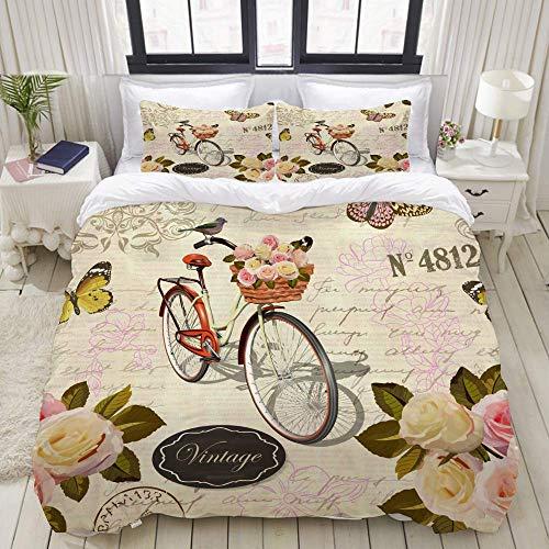 Juego de Funda nórdica, Bicicleta de Mariposa de Rosas de Fondo Vintage sin Costuras, Juego de Cama Decorativo Colorido de 3 Piezas con 2 Fundas de Almohada