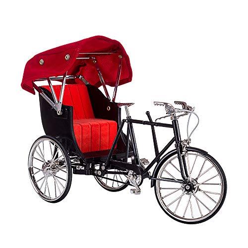N\A Metall Ornamente, DIY Montage Fahrrad Modell, Simuliertes Retro Rikscha Fahrrad Modell, Miniatur Kleine Ornamente Dekor Geschenke 12 * 17 * 25cm