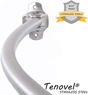 TENOVEL Rust Proof Curved Shower Curtain Rod, Adjustable Curved Shower Rod 50