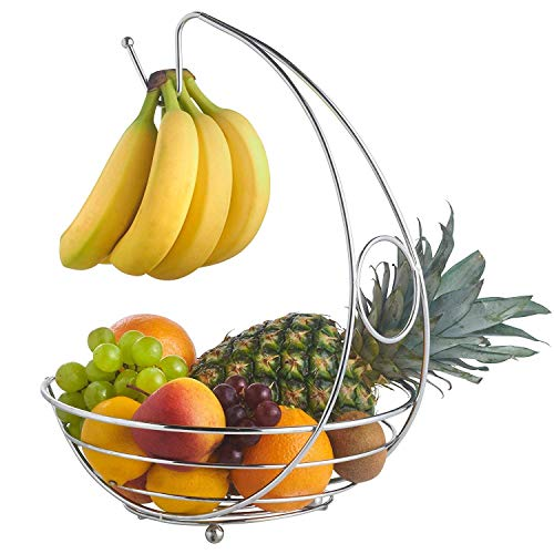 Glow Fruit Basket with Banana Holder – Stylish Premium Chrome Home Kitchen 2 in 1 Large Wide Wire Frame Display Fruit Bowl Basket with Banana Hanging Hanger Tree Hook and Round Worktop Safe Feet