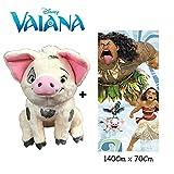VN Disney - Vaiana - Set de Peluche Cerdo PUA 25 cm(Famosa 760016402) Calidad Super Soft + Toalla de playa 100% algodón (140x70cm)