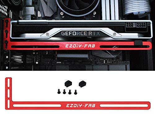 EZDIY-FAB Graphics Card Brace Support ,Video Card Holder,GPU VGA Bracket for Custom Desktop PC Gaming,Compatible to RTX 2080ti- 3mm Aluminum-Red