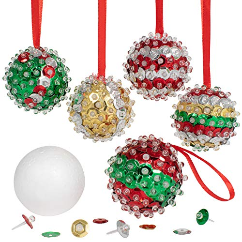 READY 2 LEARN Christmas Crafts - Create Your Own Sequin Ornaments - Set of 6 - Christmas Crafts for Kids - Christmas Tree Decorations - All Materials Included