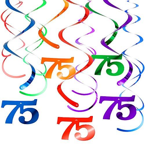 WILLBOND 30 Stück Party Hängend Spirale Wirbel 75 Geburtstag Dekorationen 5 Farben Deckendekorationen für Baby Dusche Hochzeit Abschluss Jubiläum Urlaub Feier Party Bedarf