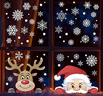 Christmas Snowflake Window Clings Decals Reindeer Santa Claus 207pcs White Snowflakes Stickers Decorations for Holiday Celebration Merry Christmas Winter Frozen Theme Party Snow Xmas Decor
