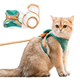 Step-in Cat Harness and Leash, Adjustable Comfortable Escape Proof Chest Vest, Soft Breathable Mesh Jacket with Reflective Strips, Easy to Wear and Control, for Small Medium Pet Dog Kitten Puppy (M)