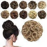 Sofeiyan Messy Bun Hair Piece Plus Size Synthetic Curly Updo Hair Scrunchies Chignon Hairpiece Extensions for Women Girls, Dark Blonde & Bleach Blonde mix