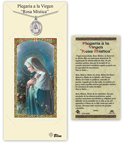 Pewter Our Lady Rosa Mystica Medal with Laminated...