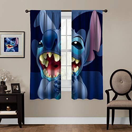 Blackout Curtains,Lilo Stitch (9), Rod Pocket Thermal Insulated Darkening Window Drapes for Bedroom, Cute Animal Boys Girls Room Décor, 2 Panels,55x39 inch
