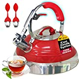 Pykal The Red Hotness Whistling Tea Kettle with iCool-Handle Technology and 2 x Free Loose Tea Infusers, Surgical Stainless Steel, Compatible on All Stovetops - Induction or Gas, 2.8 QT Volume