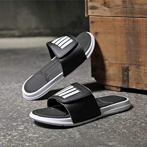 Cxypeng Secado Rápido Zapatillas Piscina,Chanclas de Velcro Antideslizantes de Verano, Zapatos de Playa al Aire Libre sandals-43_Black,Zuecos para Mujer Vestir