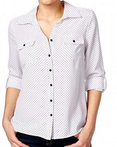 NY Collection Women's Petite Size 3/4 Sleeve Y Neck Allover Printed Blouse, White Akron, PS