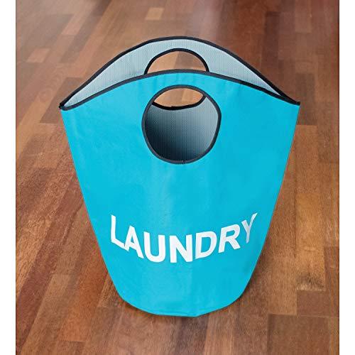 Tatkraft Bagy Premium Qualität Wäschesack mit Griffen, Polyester, Türkis, 55x 31x 57cm